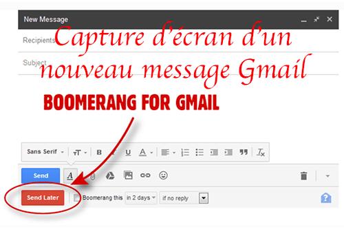 Utiliser boomerang gmail