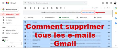 Comment supprimer tous les mails sur gmail